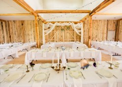 All white tableclothes and dishes