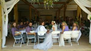 Outside looking in on the wedding party at White Pine Grove