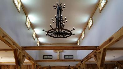 Our unique chandelier was handmade by owner David Laub