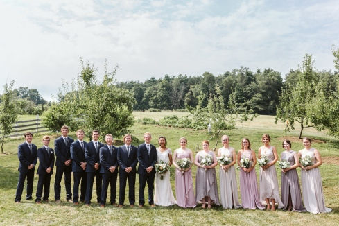 Bridal party in the orchard at White Pine Grove