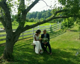 On the bench under the Crabapple tree (D. Laub)